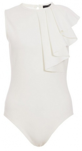Quiz White Frill Sleeveless Bodysuit