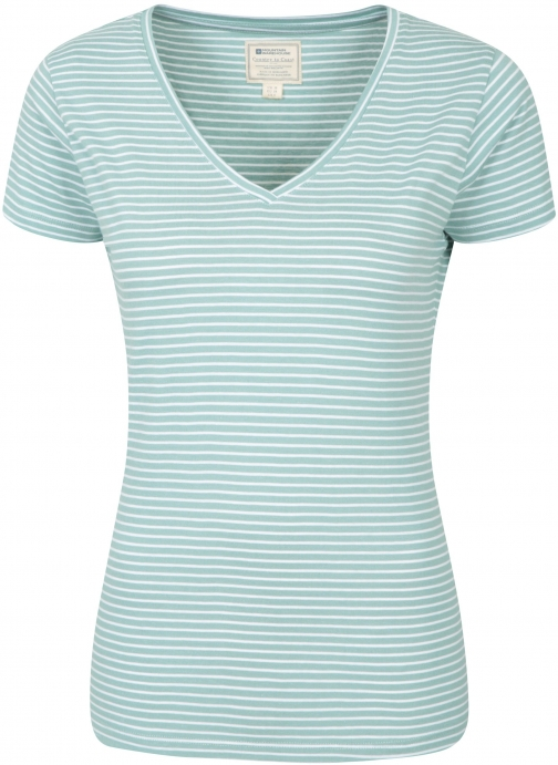 Mountain Warehouse Vancouver Womens V-Neck Stripe Tee - Green T-Shirt
