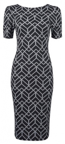 Dorothy Perkins Black Jacquard Print Ruched Sleeve Bodycon Dress