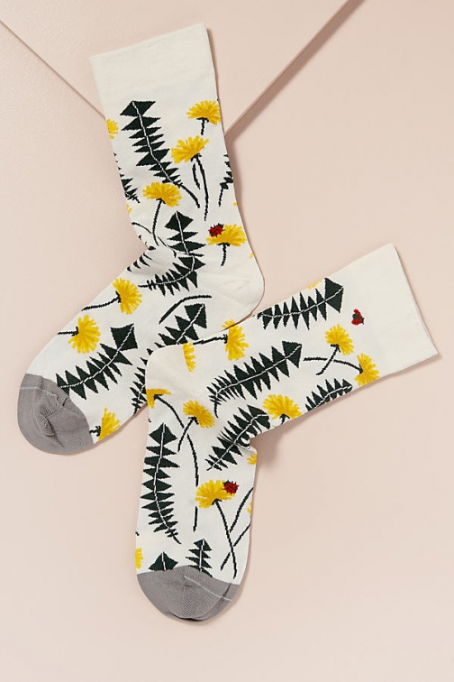 Anthropologie Bonne Maison Pissenlits Floral Sock