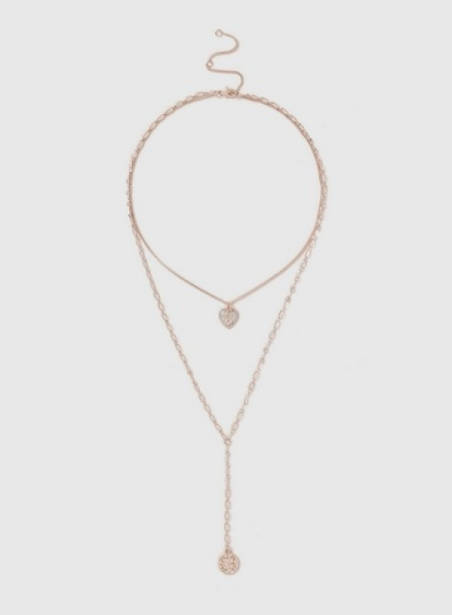 Dorothy Perkins Womens Heart And Disc 2 Row - Rose Gold, Rose Gold Necklace