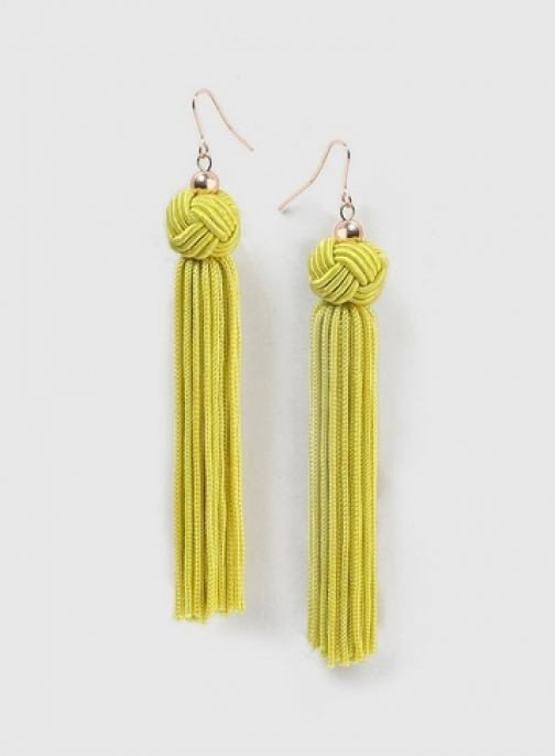 Dorothy Perkins Womens Lime Green Knot Tassel - Yellow, Yellow Earring