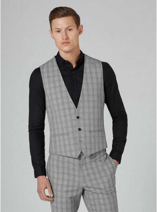 Topman Mens Mid Grey Grey And Black Check Muscle Fit , Mid Grey Suit Waistcoat