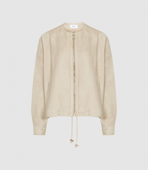 Reiss Solene - Suede Neutral, Womens, Size XS Bomber Jacket