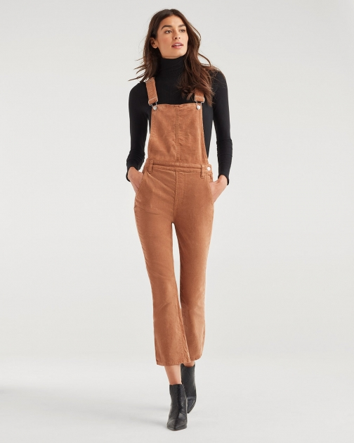 7 For All Mankind Women's Slim Kick Vintage Corduroy Overall Penny Jumpsuit