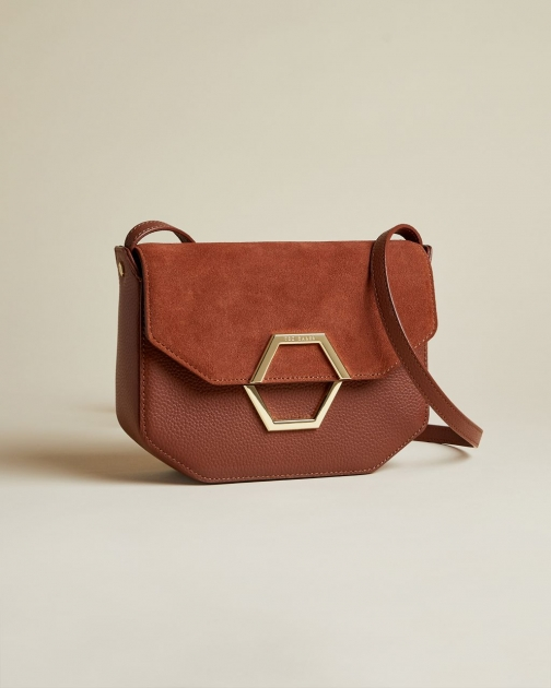 Ted Baker Leather And Suede Hexagon Detail Cross Body Bag Crossbody Bag
