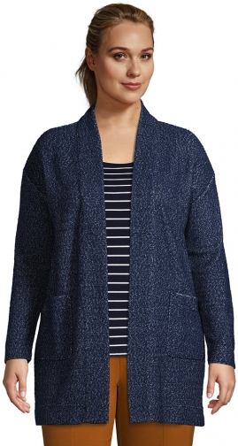 Lands' End Women's Plus Size Long Sleeve Textured Open - Lands' End - Blue - 1X Cardigan