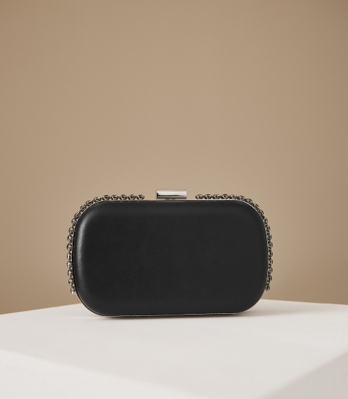 Reiss Victoria - Crystal Embellished Leather Black, Womens Clutch