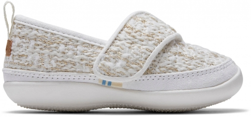 Toms White Metallic Boucle Tiny TOMS Inca Slippers