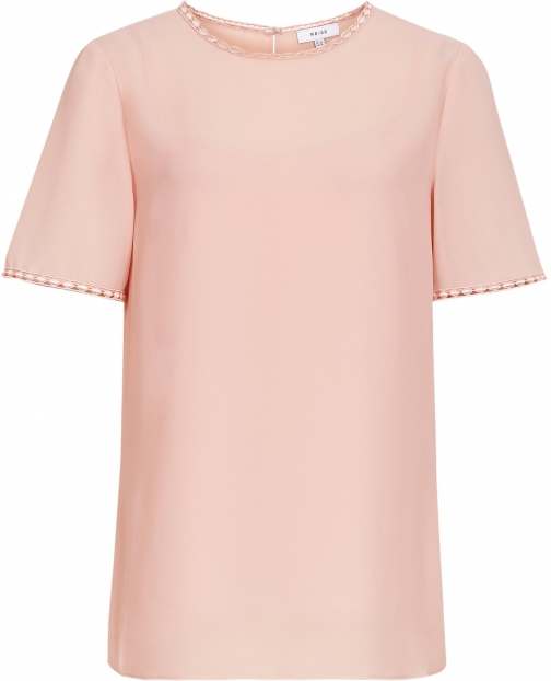 Reiss Stella - Lace Trim Top Pale Pink, Womens, Size 4 T-Shirt