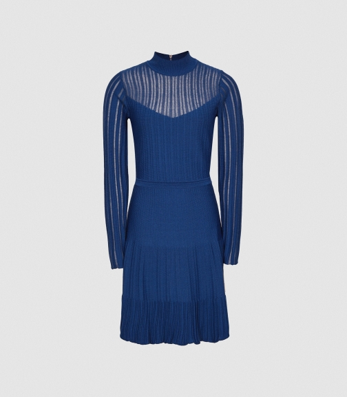 Reiss Clemmy - Sheer Stripe Blue, Womens, Size XS Knitted Dress