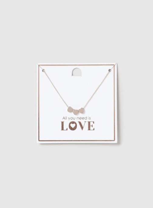 Dorothy Perkins Rose Gold Heart Cluster Short Necklace