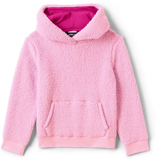 Lands' End Kids Pull Over Sherpa - Lands' End - Pink - S Hoodie