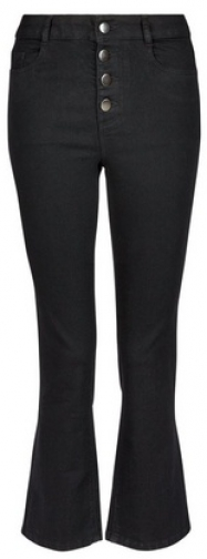 Dorothy Perkins Black 4 Button Crop 'Kick Flare' Jeans