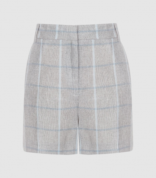 Reiss Willow - Checked Tailored Grey/blue, Womens, Size 8 Short