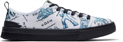 Toms White Star Wars Character Sketch Print Women's Trvl Lite Low Sneakers Shoes Trainer