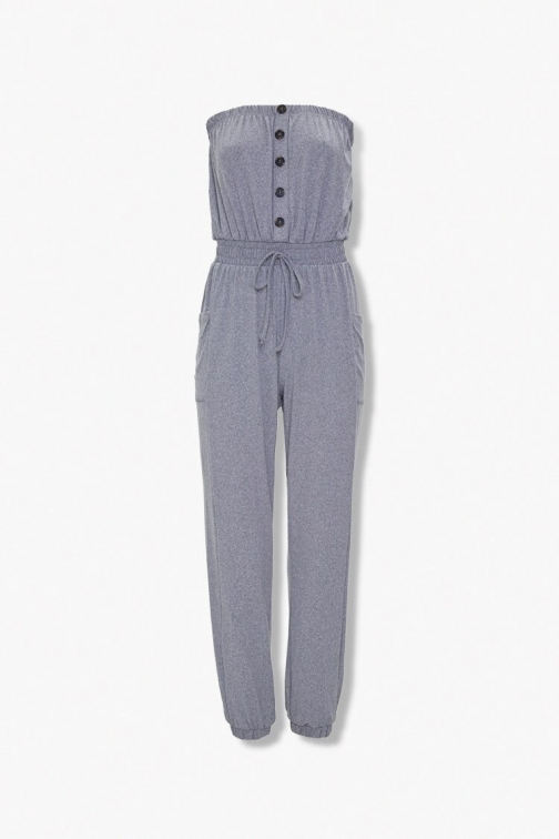 Forever21 Forever 21 Strapless Button-Front , Heather Grey Jumpsuit