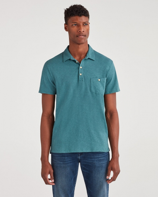 7 For All Mankind Men's Boxer Four Button Spruce Polo