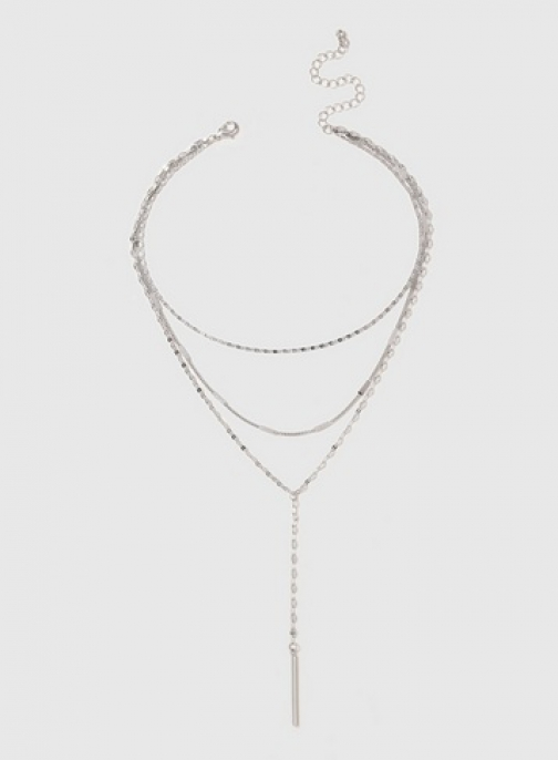 Dorothy Perkins Silver Mix Chain Multirow Necklace Chokers