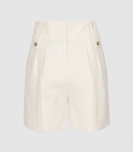 Reiss Lennox - High Waisted Tailored Off White, Womens, Size 14 Short