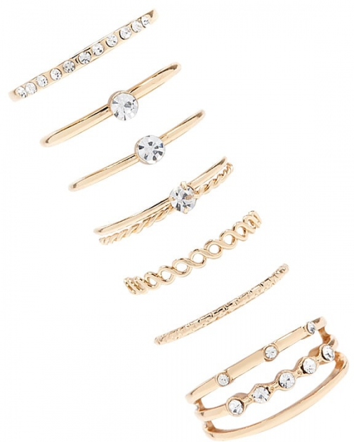 Forever21 Forever 21 Assorted Set Gold/clear Ring