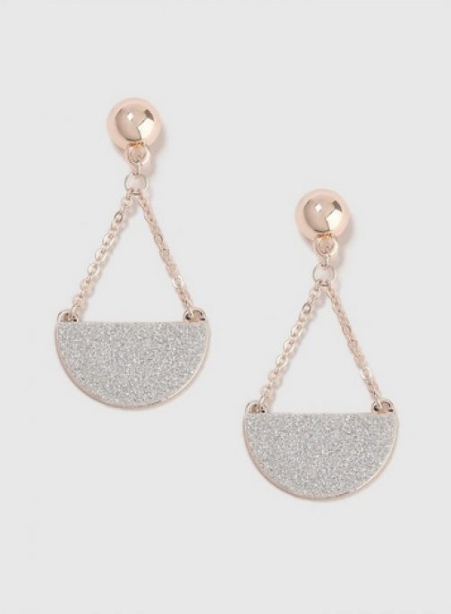 Dorothy Perkins Womens Rose Gold Chain And Glitter - Silver, Silver Earring