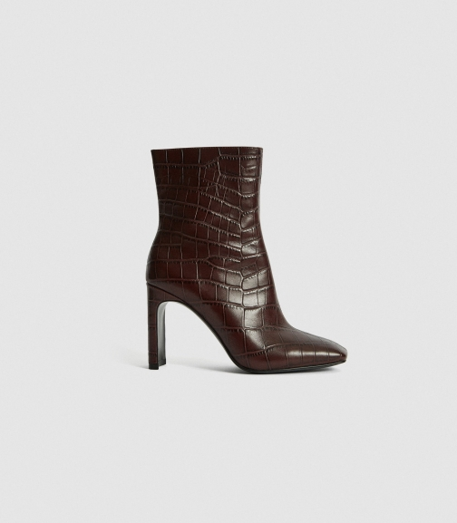 Reiss Vogue - Leather Croc Embossed Plum, Womens, Size 3 Ankle Boot