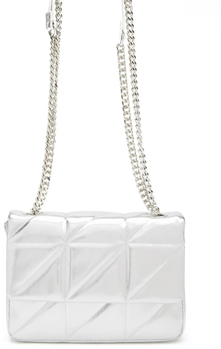 Forever21 Forever 21 Quilted Chain-Strap Silver Shoulder Bag