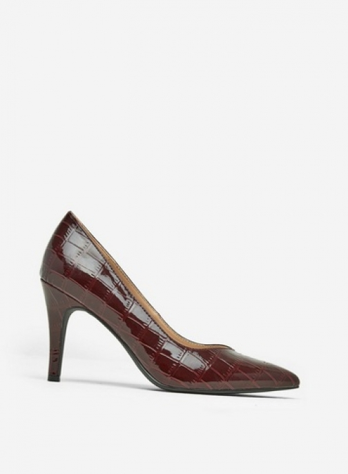 Dorothy Perkins Burgundy Croc Drake Shoes Court