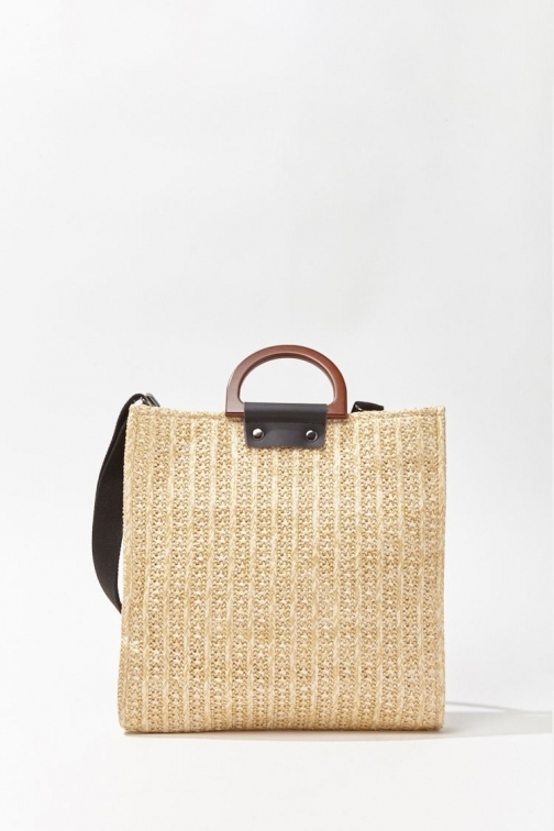 Forever21 Forever 21 Wooden-Handle Straw Bag , Beige Tote