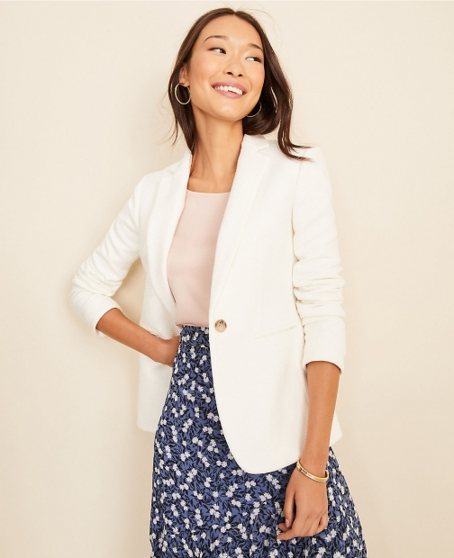 Ann Taylor The Hutton Piped Tweed Blazer