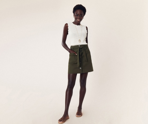 Oasis Patch Pocket Button Skirt