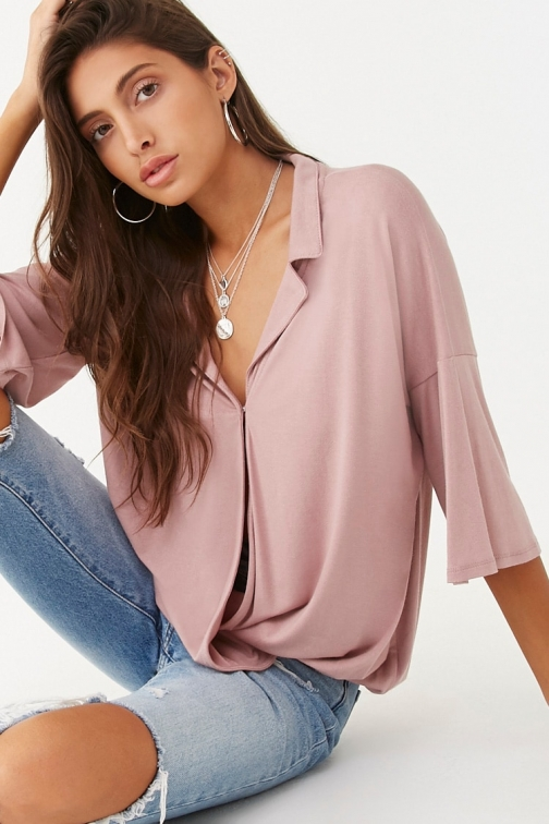 Forever21 Forever 21 Surplice Notched- Top , Mauve Collar