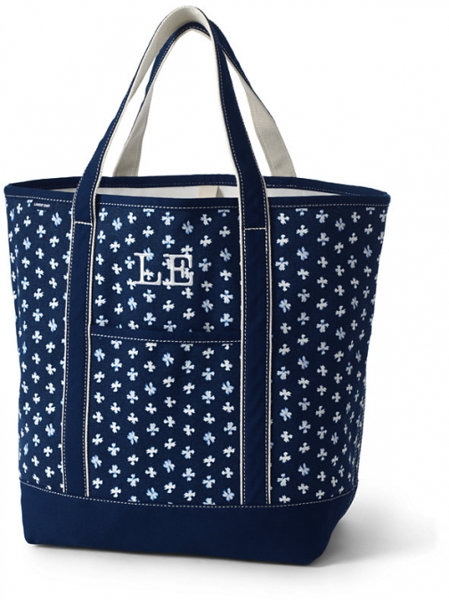 Lands' End Large Print Open Top Canvas Bag - Lands' End - Blue Tote
