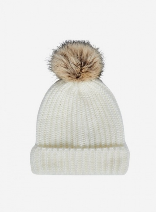 Dorothy Perkins Cream Knitted Pom Hat