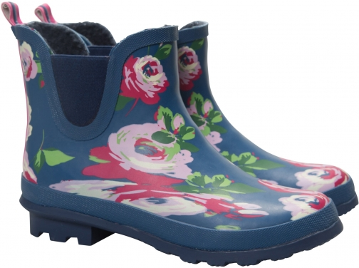 Mountain Warehouse Floral Winter Rubber Ankle - Navy Welly
