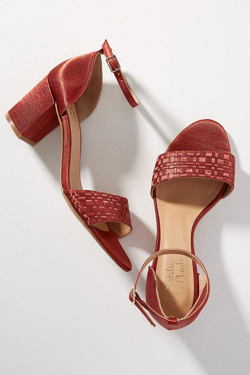 Anthropologie Amber Woven-Strap Silk Block Heels Heeled Sandals