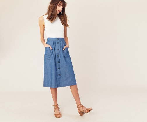 Oasis Chambray Button Skirt