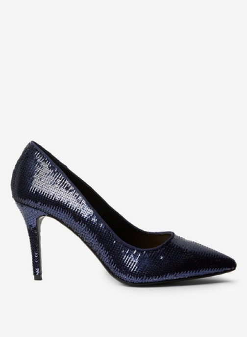 Dorothy Perkins Womens Wide Fit Navy 'Ezzy' Sequin Court - Blue, Blue Shoes