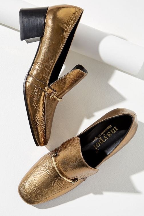 Maypol Metallic Heeled Loafer