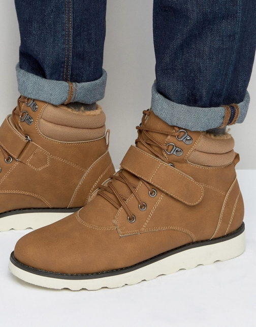 Brave Soul Lace Up With Borg Lining Tan Boot