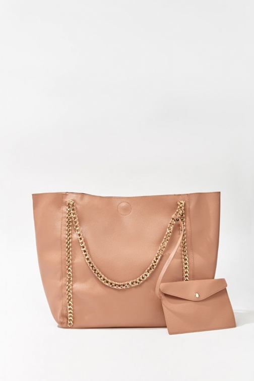 Forever21 Forever 21 Faux Leather Chain-Trim Bag , Mauve Tote