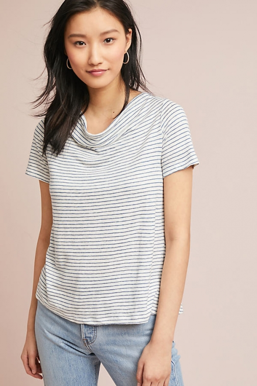 Anthropologie Horizon Linen Tee - Blue, Size T-Shirt