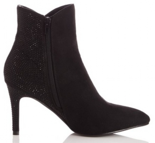 Quiz Black Suede Toe Ankle Boot