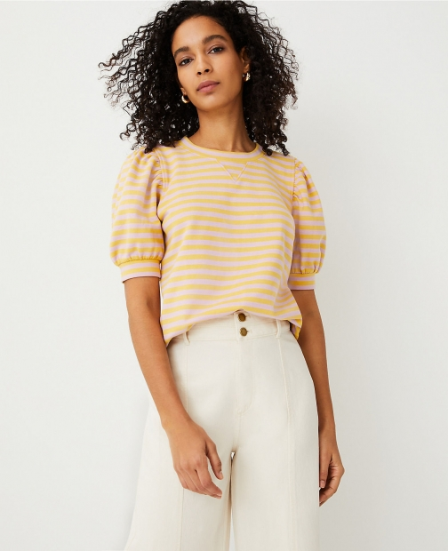 Ann Taylor Petite Striped Puff Sleeve Sweatshirt