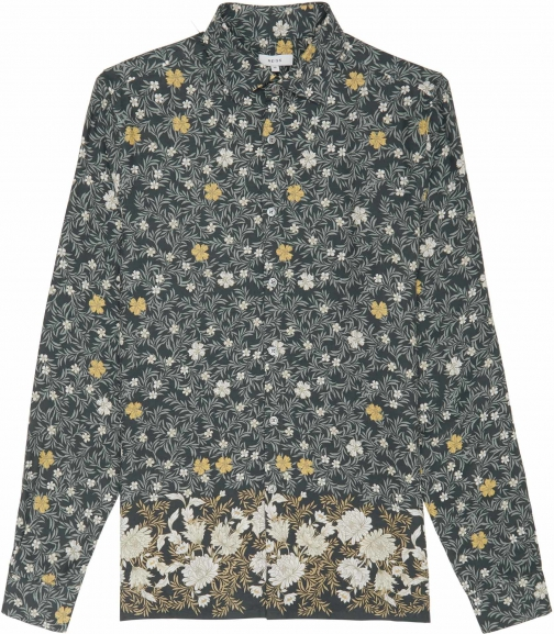Reiss Marcie - Floral Printed Green, Mens, Size L Shirt