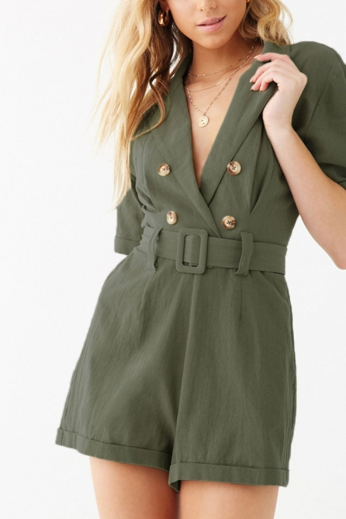 Forever21 Forever 21 Textured Double-Breasted Romper , Olive Jumpsuit