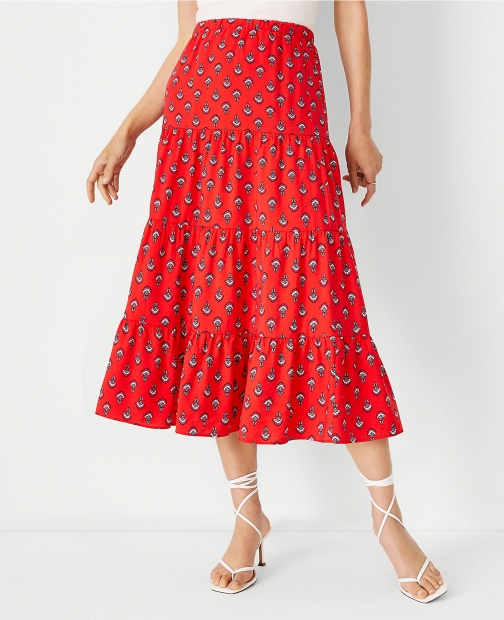 Ann Taylor Floral Gathered Tiered Midi Skirt