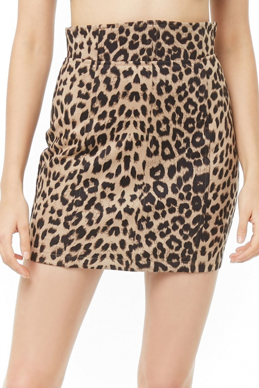 Forever21 Forever 21 High-Waisted Leopard Print Taupe/brown Mini Skirt