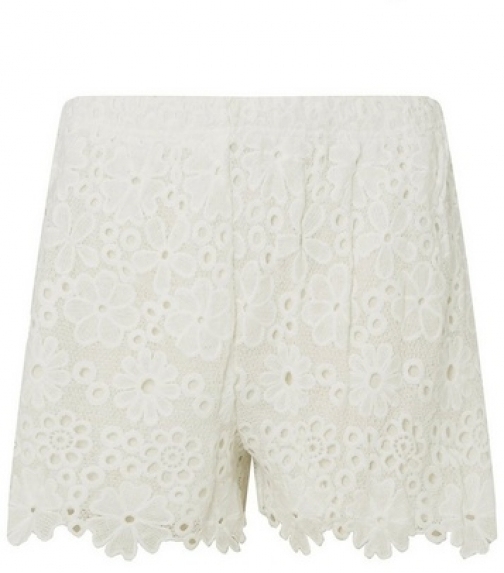 Dorothy Perkins Womens Ivory Lace - White, White Short